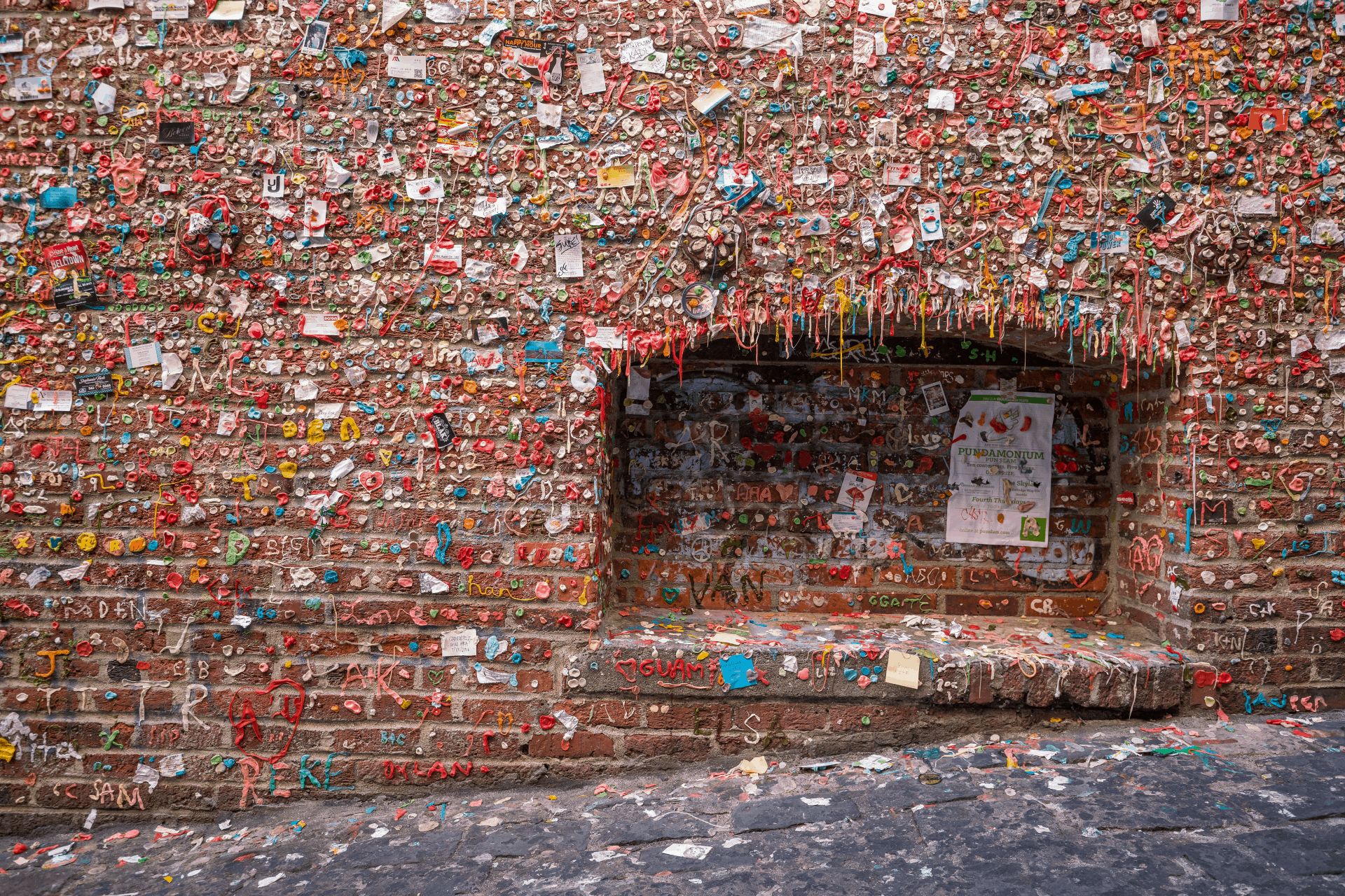 chewing gum on wall